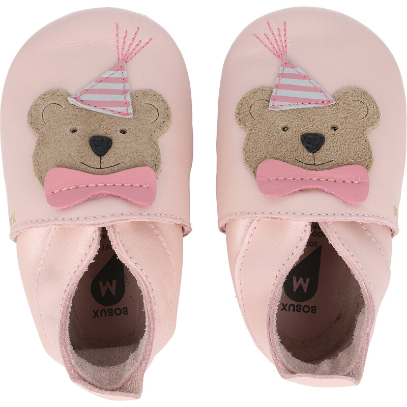 Bobux Soft Sole Party Bear Blossom Pearl Leather
