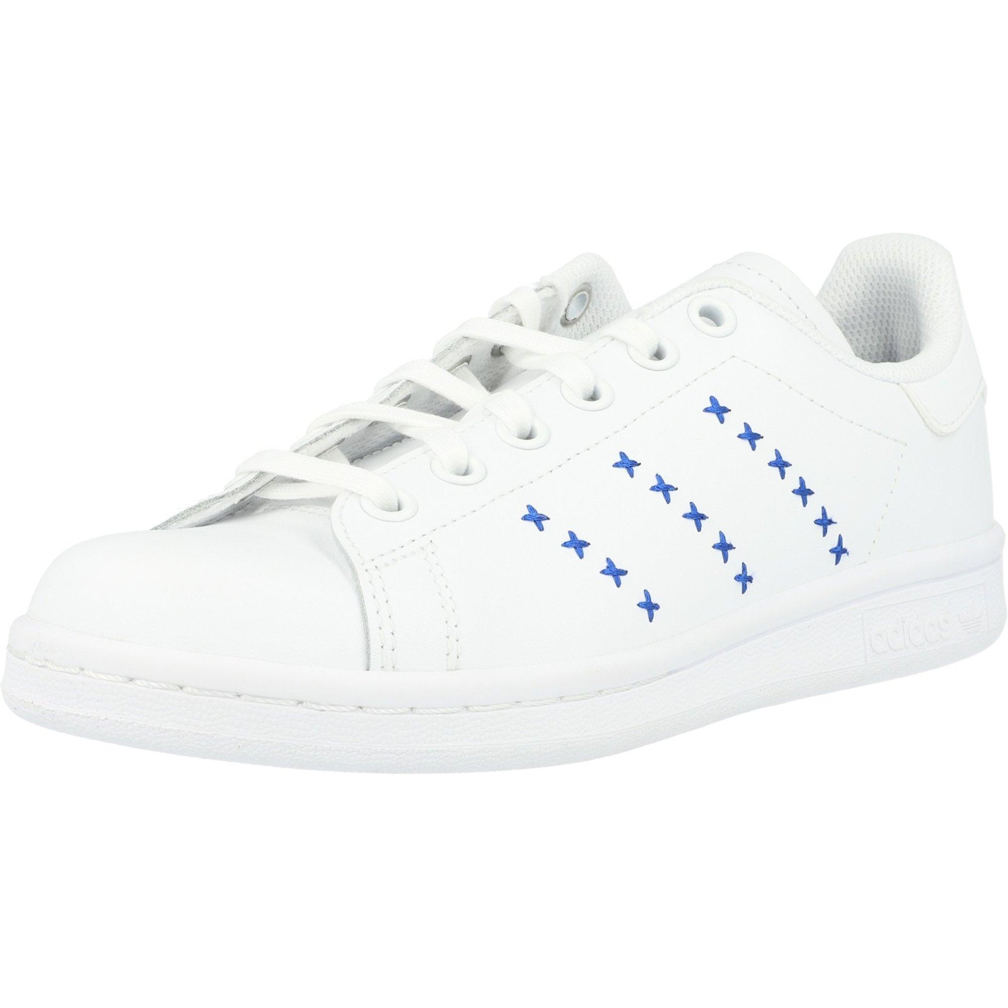 adidas Originals Stan Smith J White/Royal Blue Leather Junior