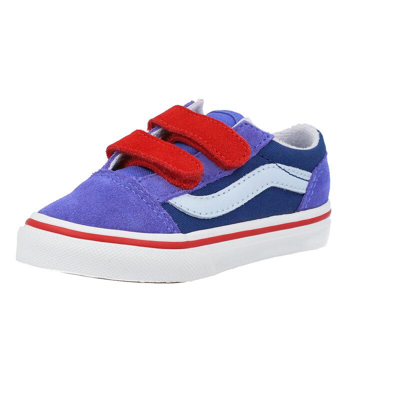 Vans TD Old Skool V Bleu/Rouge (Baja Blue Color Block/High Risk Red) Daim Bambin