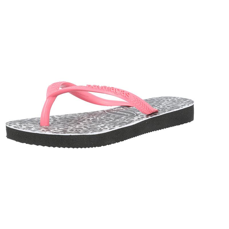 Havaianas Kids Slim Leopard Black/Pink Rubber