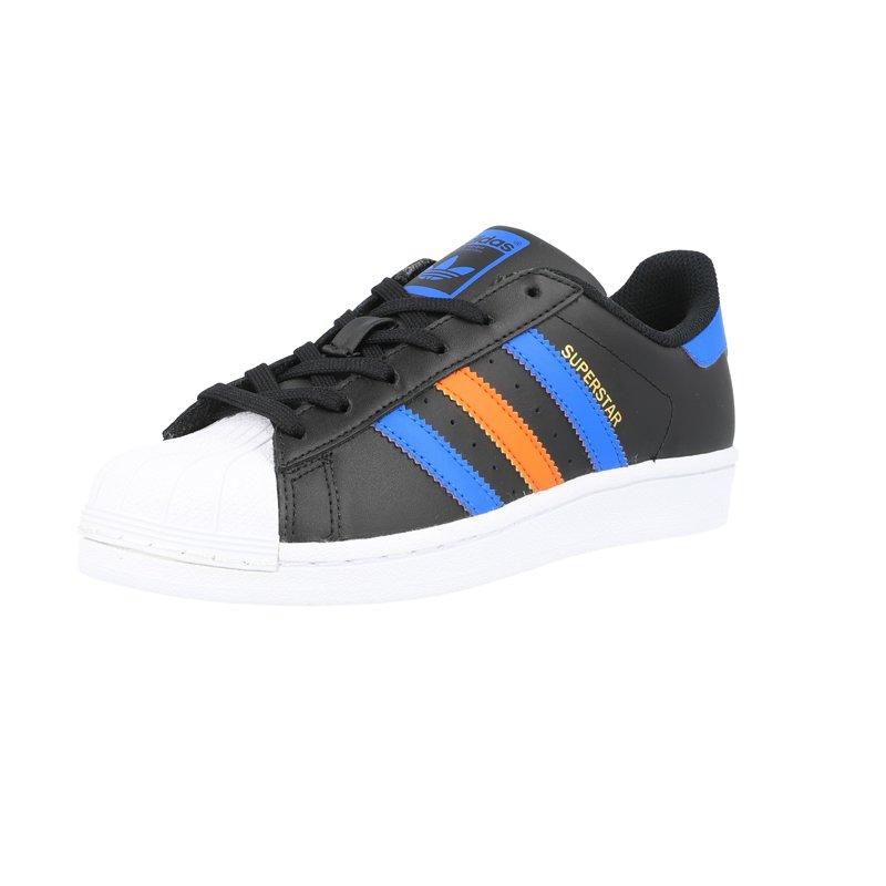 adidas Originals Superstar J Black/Blue Leather Junior