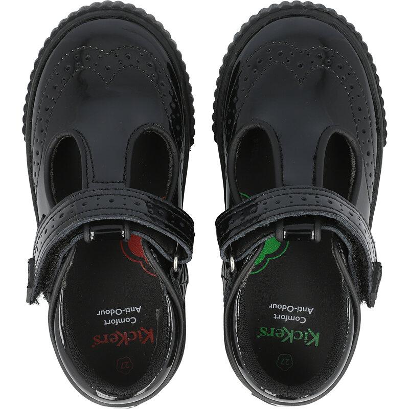 Kickers Tovni Brogue T Bar I Black Patent Leather