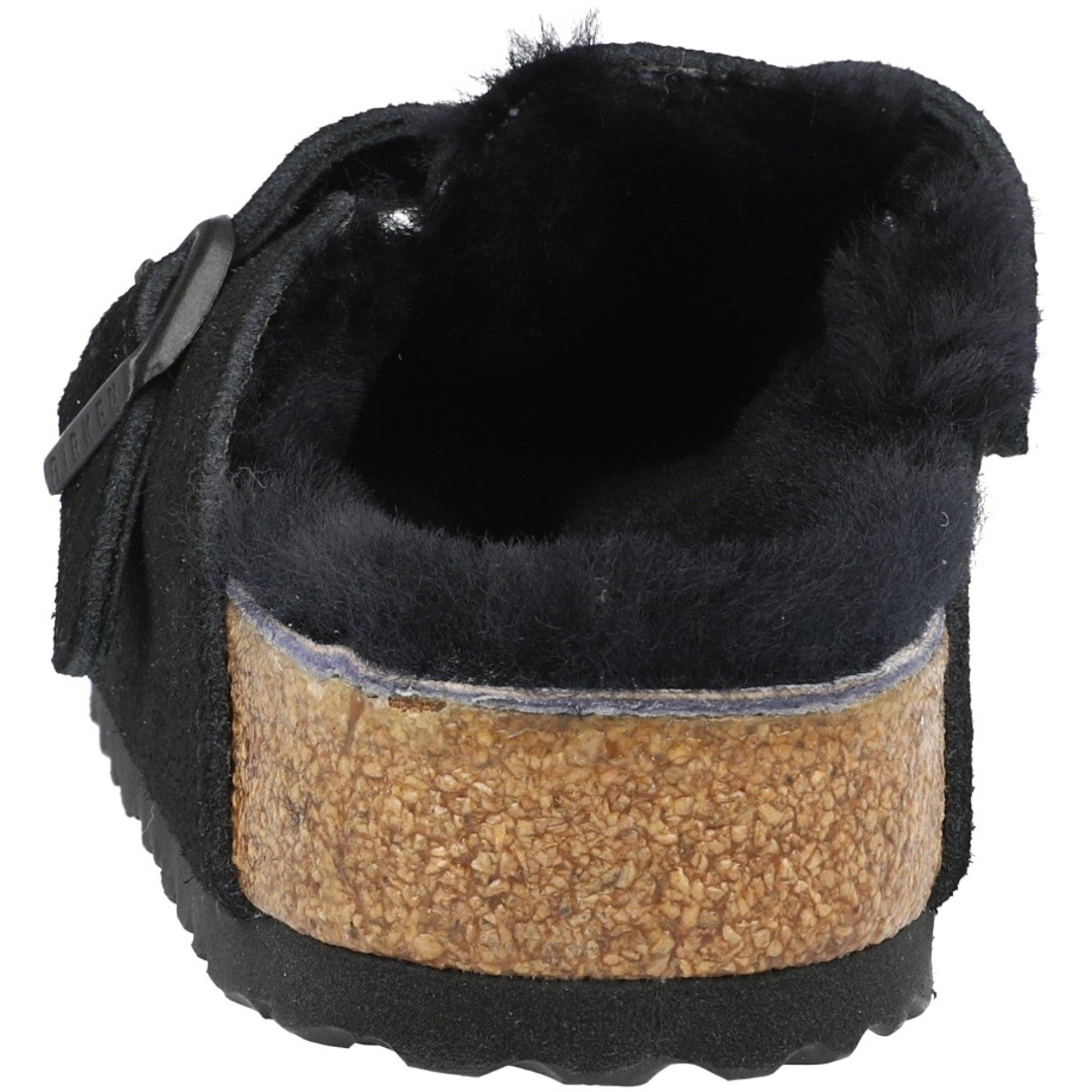 Birkenstock Boston Fur Black Suede