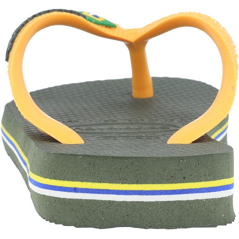 Havaianas Kids Brasil Logo Green Olive/Vibrant Orange Rubber