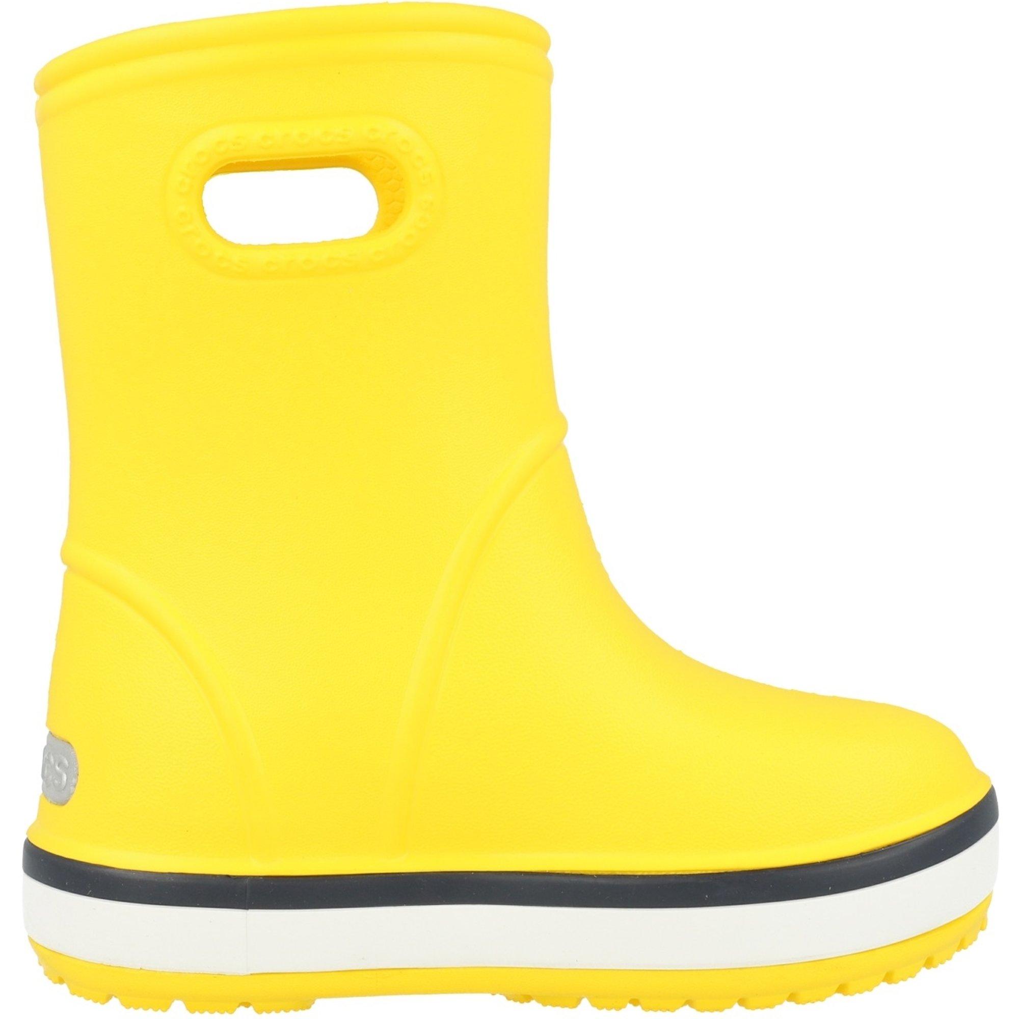 Crocs Kids Crocband Rain Boot Yellow/Navy Croslite