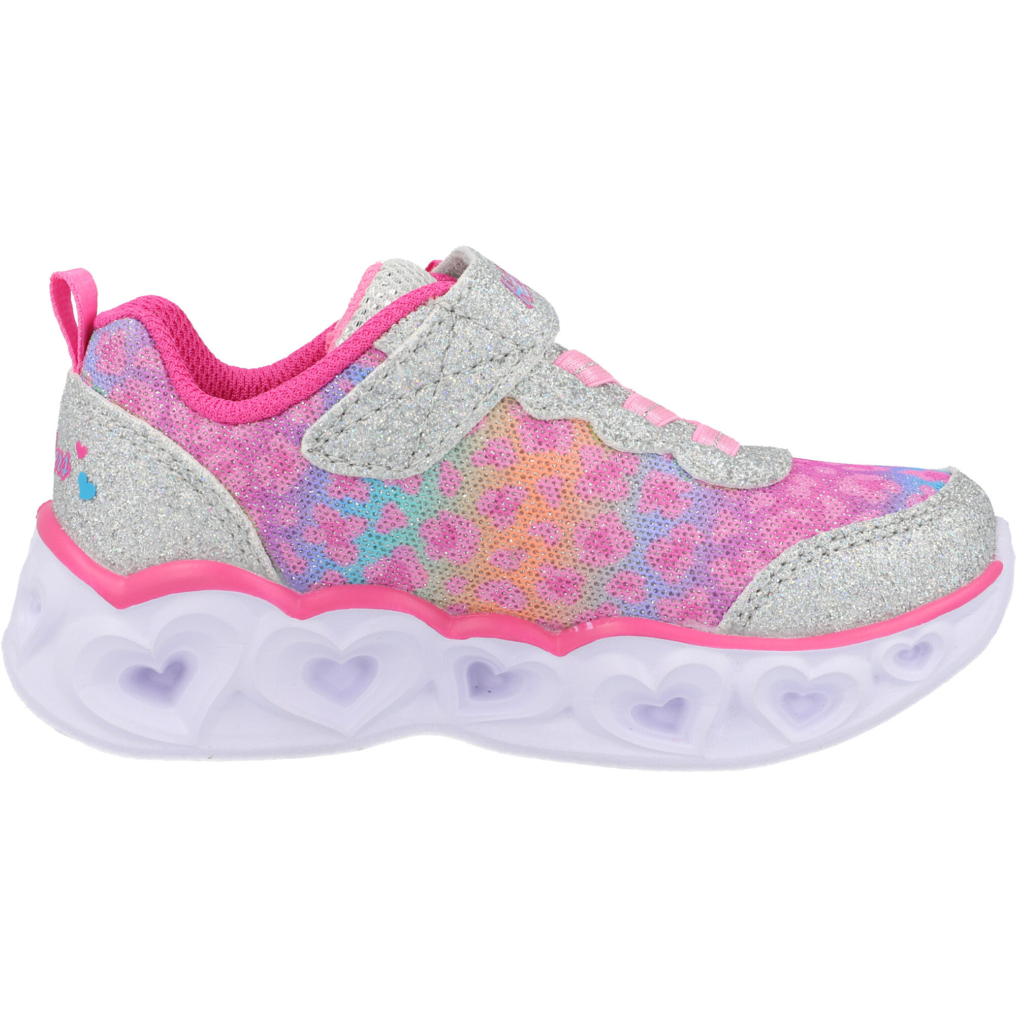 Skechers Heart Lights Silver/Hot Pink Textile