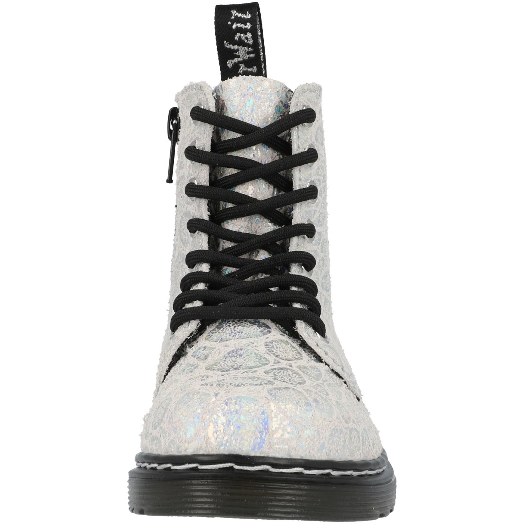 Dr Martens 1460 Pascal J White/Silver Croc Metallic Suede