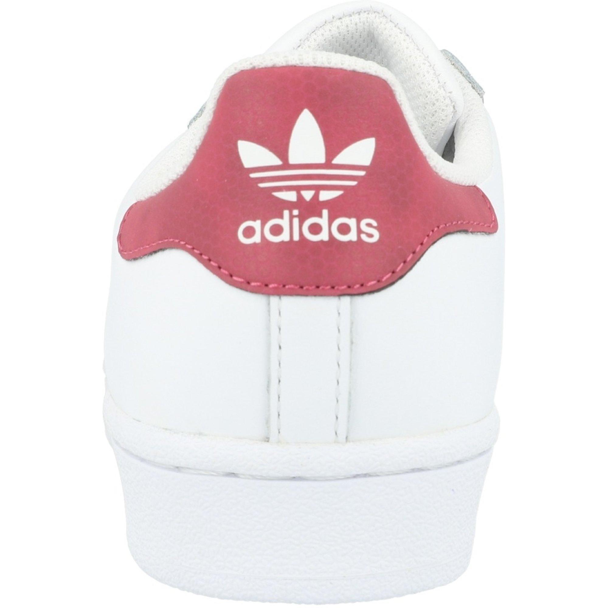 adidas Originals Superstar White/Dark Pink Leather