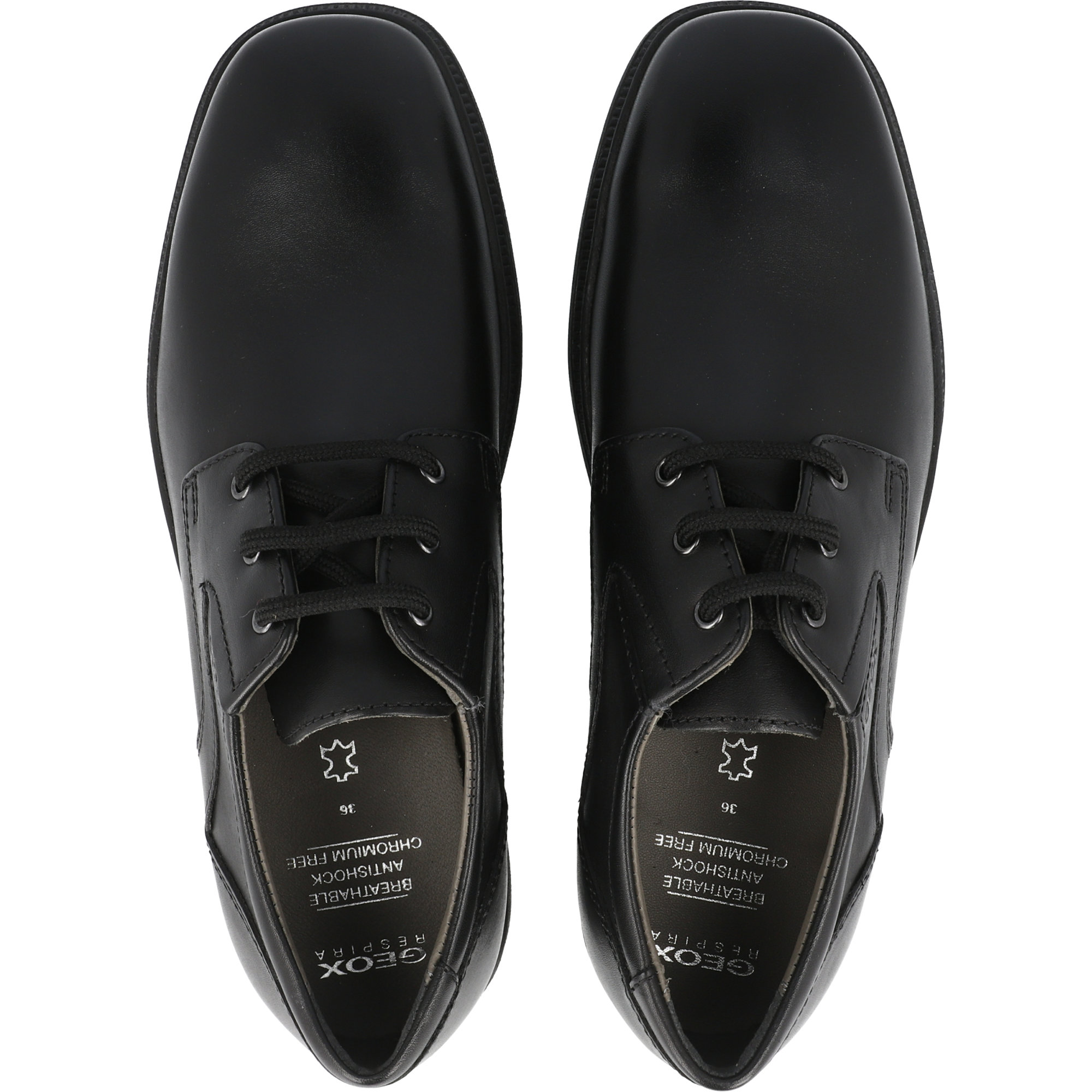 Geox J Federico C Black Smooth Leather