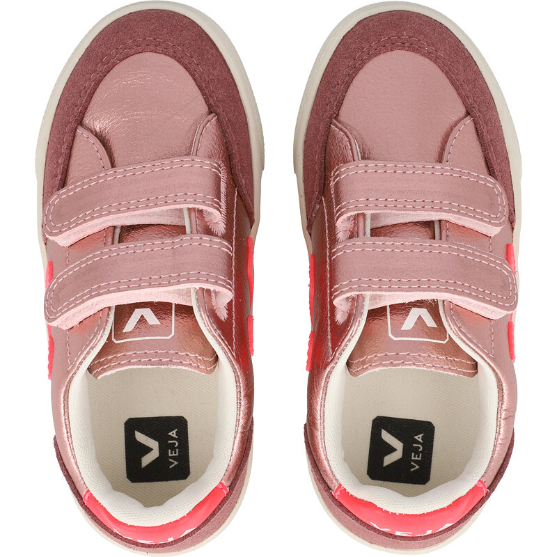 Veja V-12 Velcro J Nacre/Rose-Fluo Chrome-free Leather