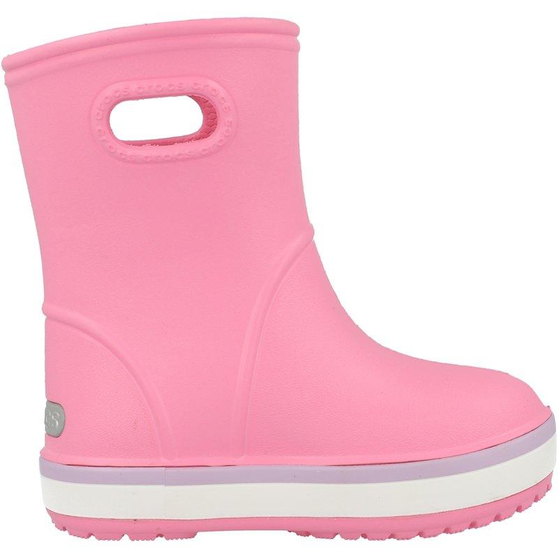 Crocs Kids Crocband Rain Boot Pink Lemonade/Lavender Croslite