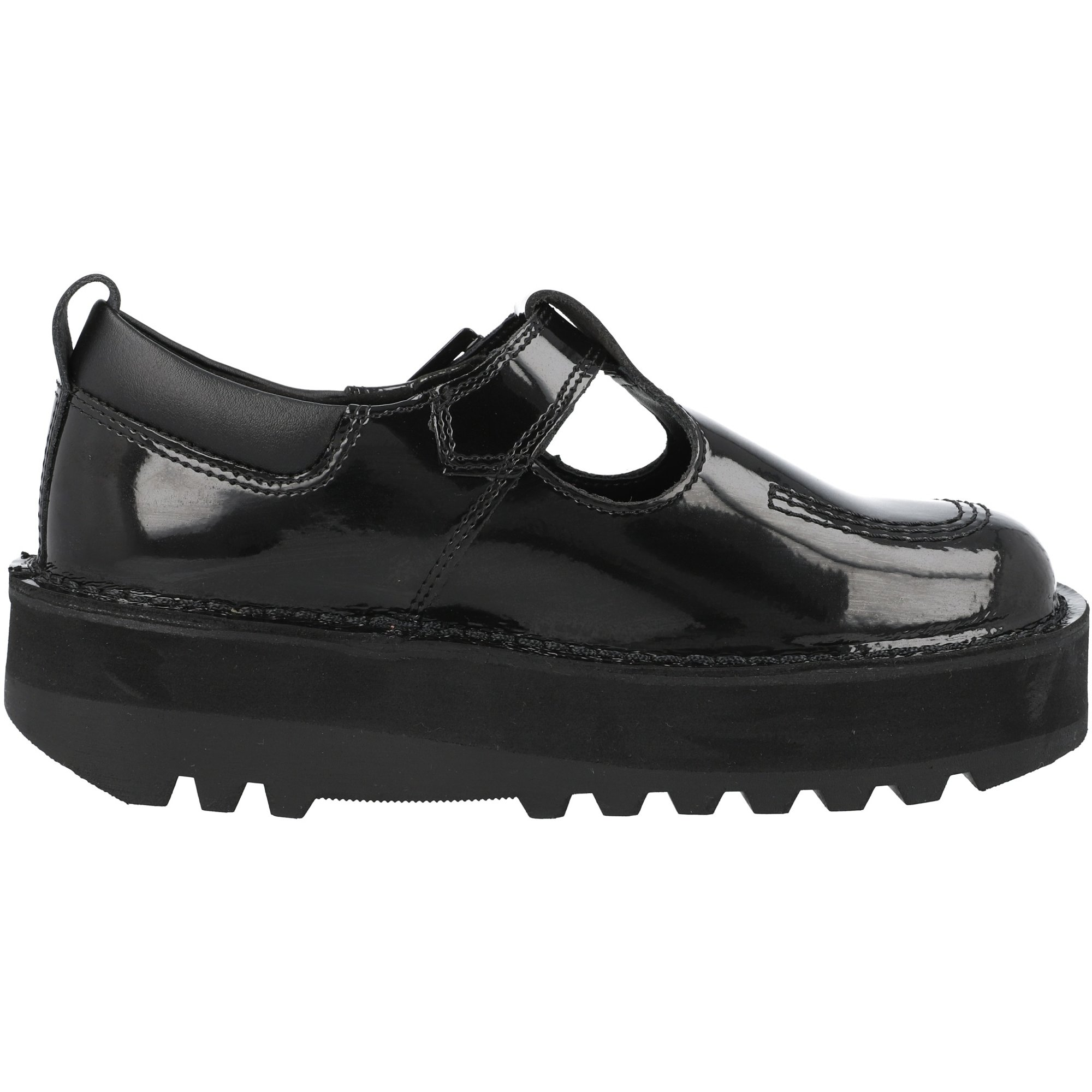 Kickers Kick Stack T Bar Black Patent