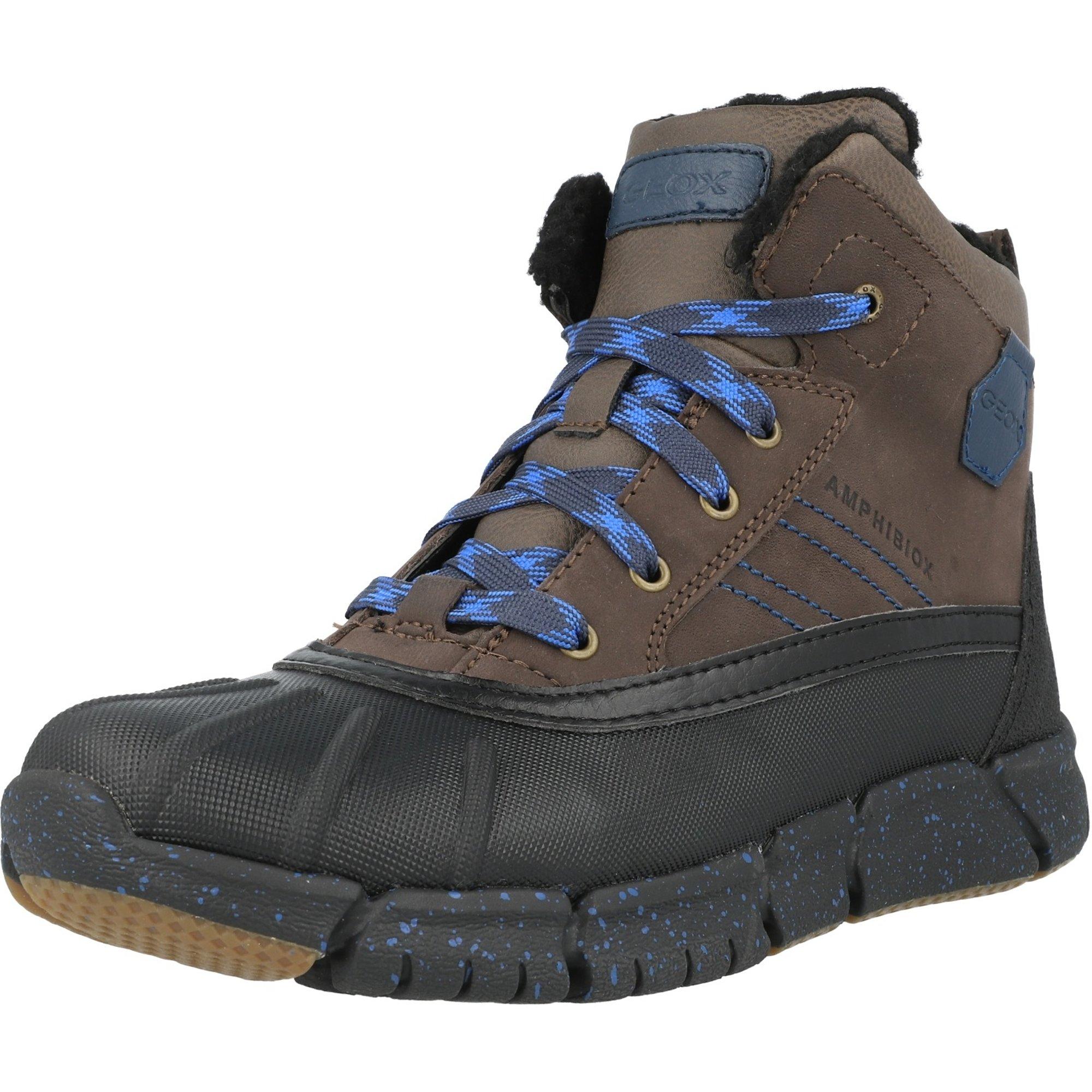 Geox J Flexyper Amphibiox D Coffee/Royal Blue Waxy Leather