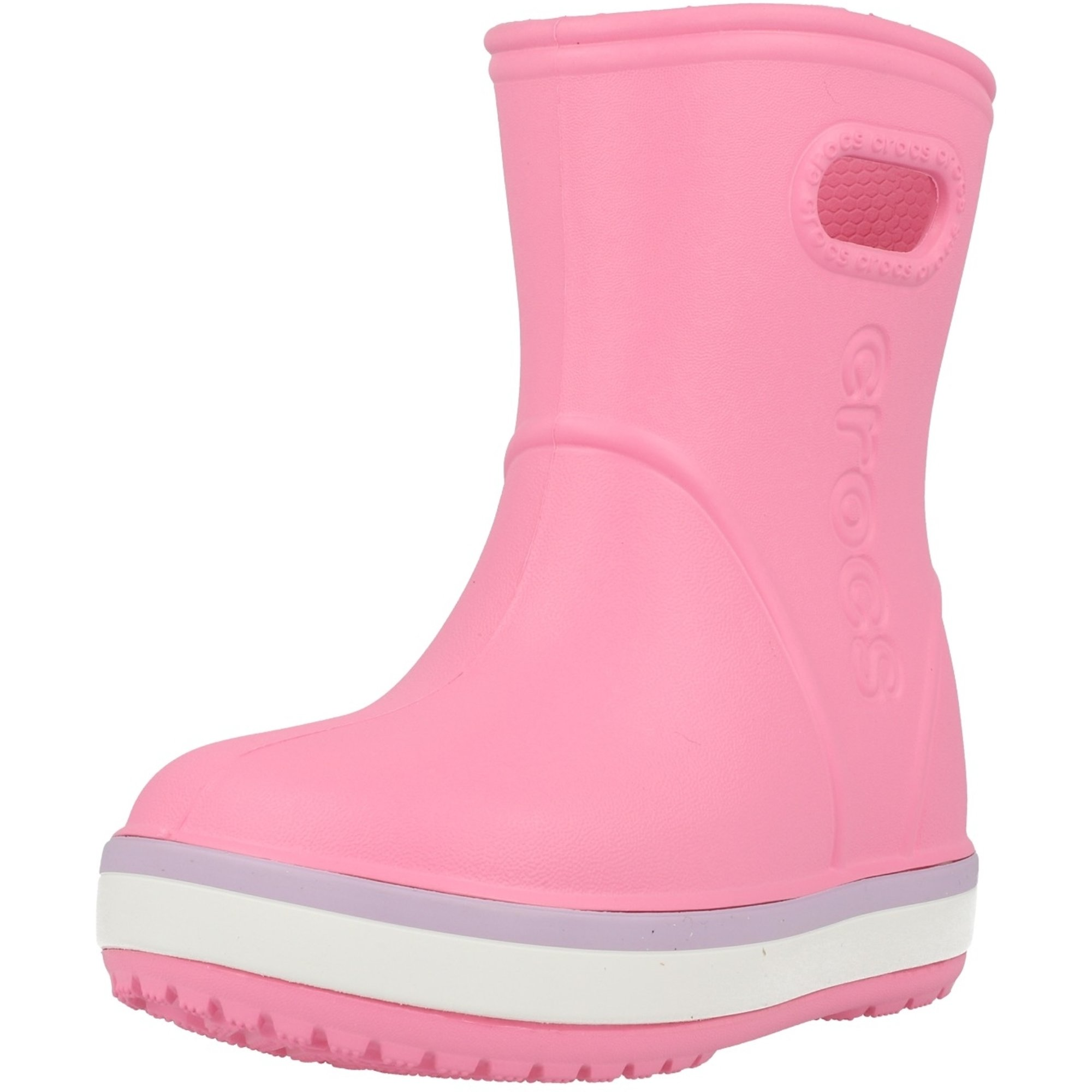 Crocs Kids Crocband Rain Boot Pink Lemonade/Lavender Croslite