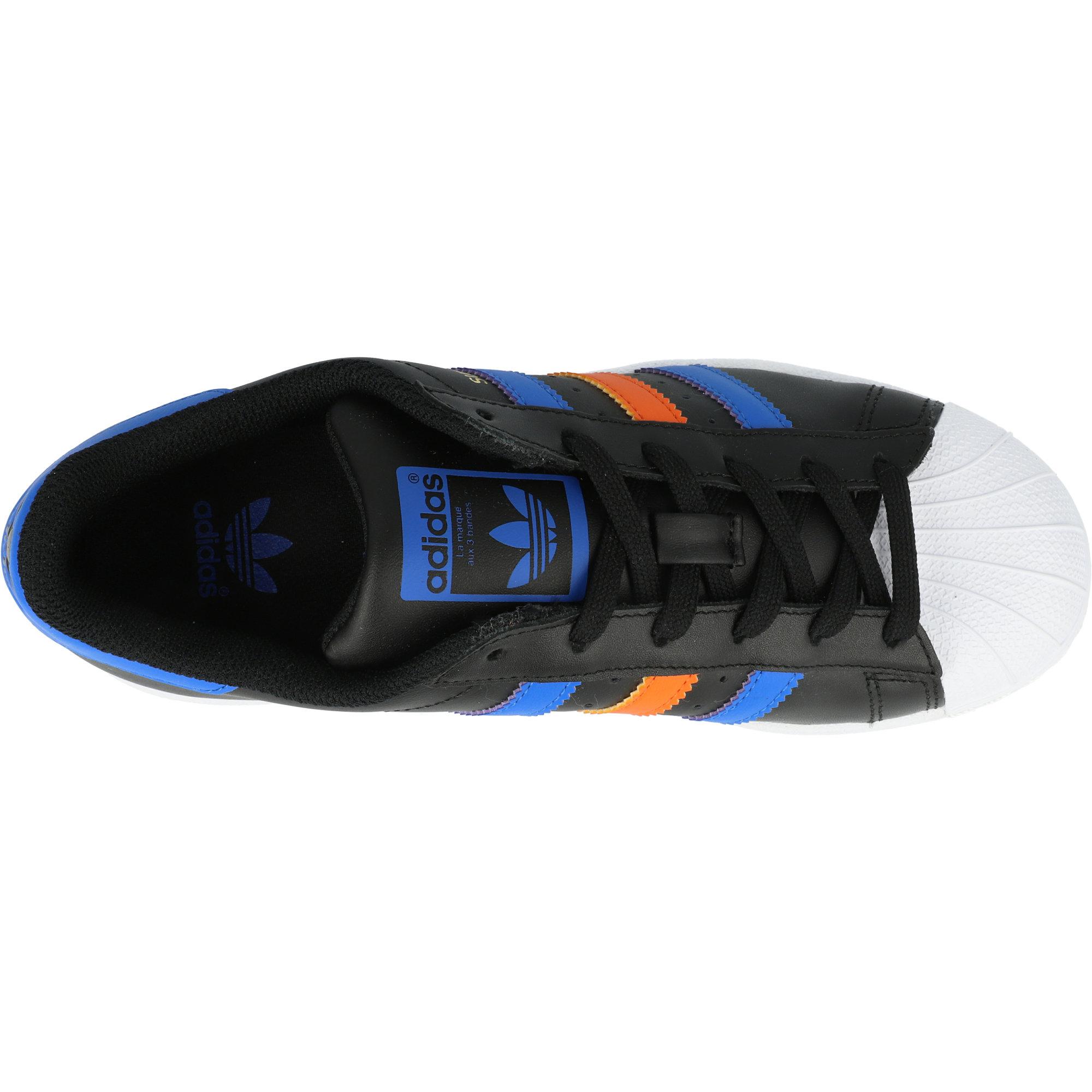 adidas Originals Superstar J Black/Blue Leather