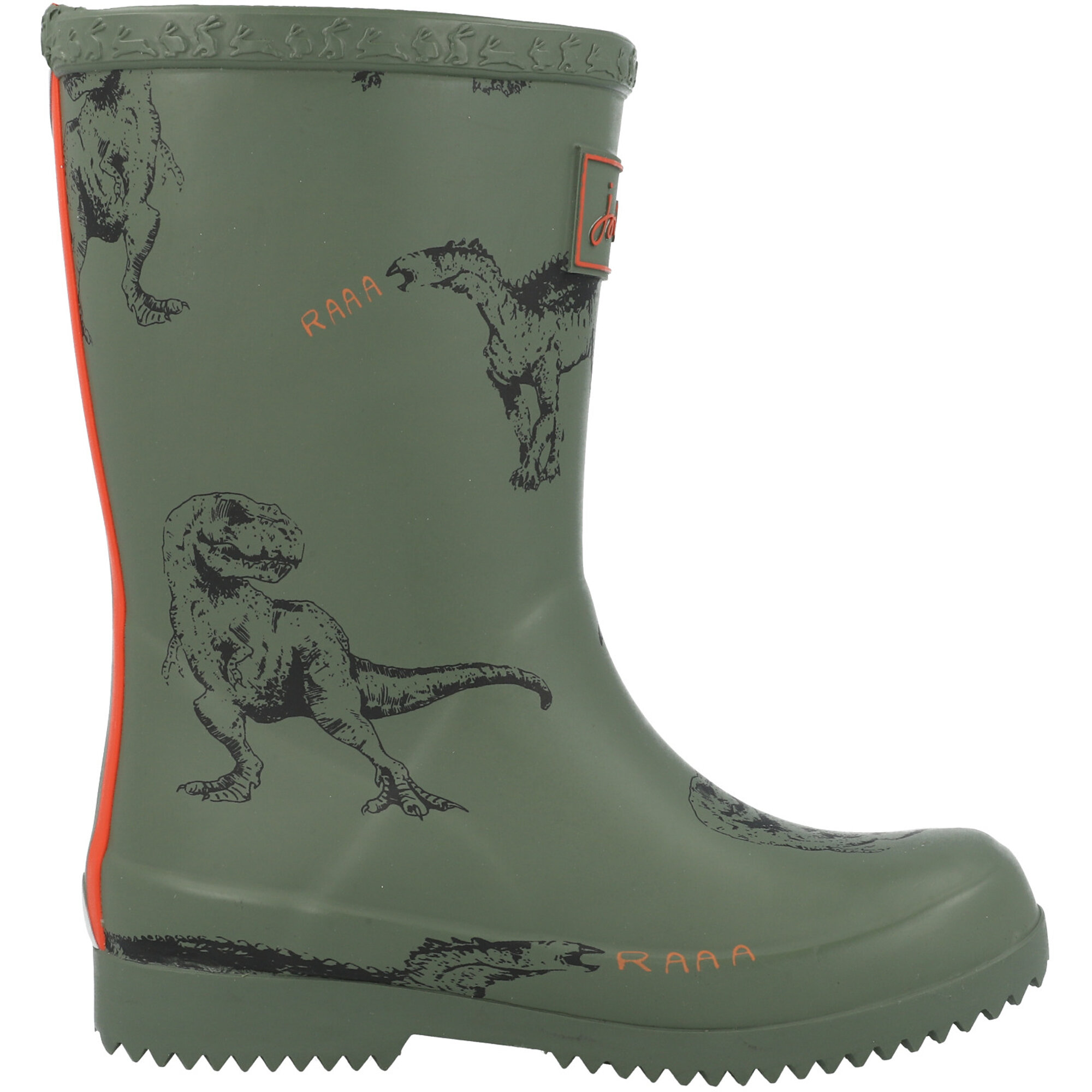 Joules Jnr Roll Up Welly Dinosaur Green Rubber