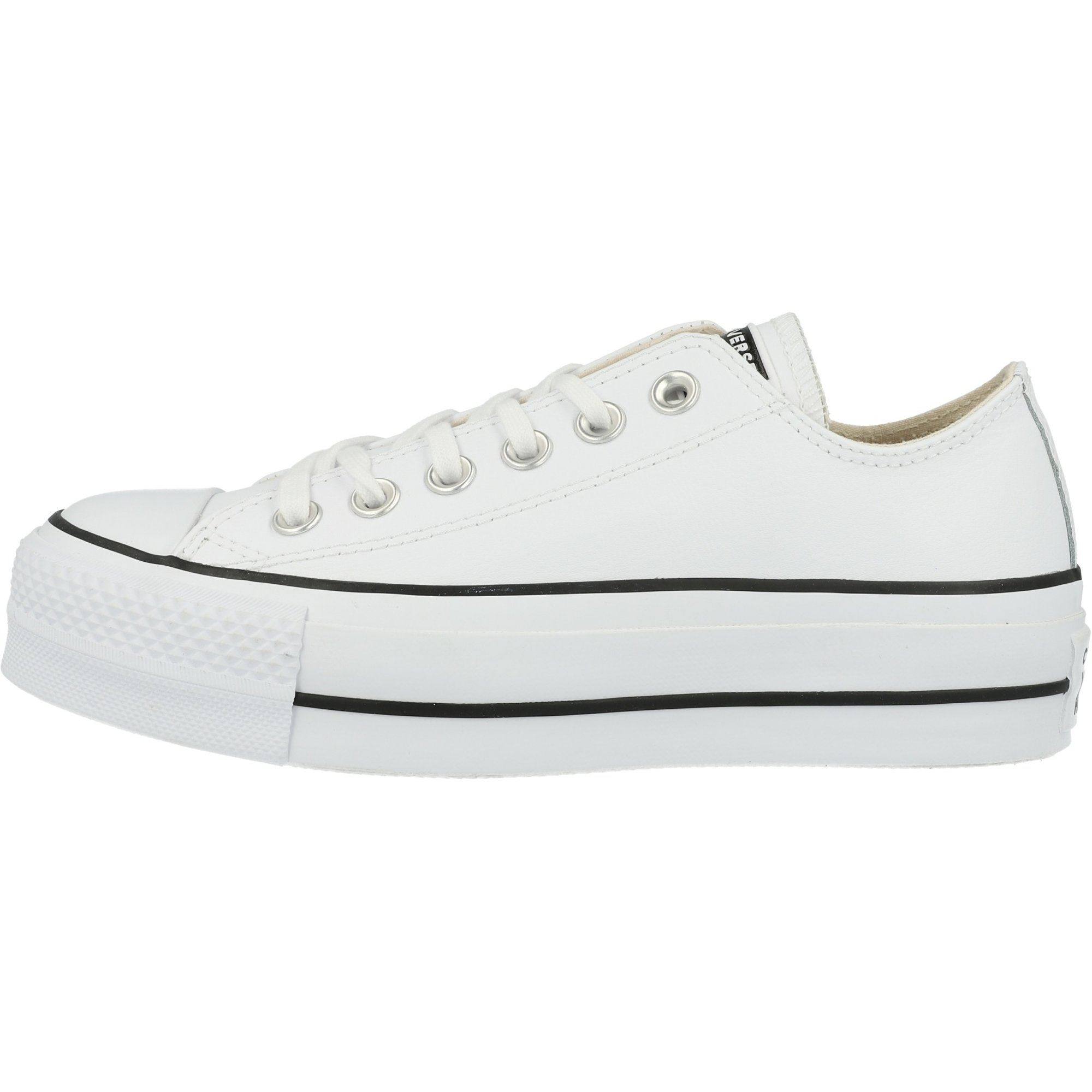 Converse Chuck Taylor All Star Lift Ox Clean White Black Leather Trainers Shoes Awesome Shoes