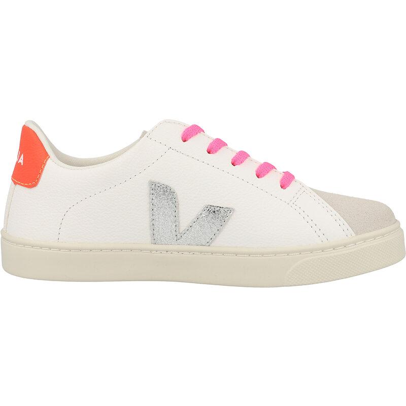 Veja Esplar Lace J Extra White/Orange-Fluo Chrome-free Leather